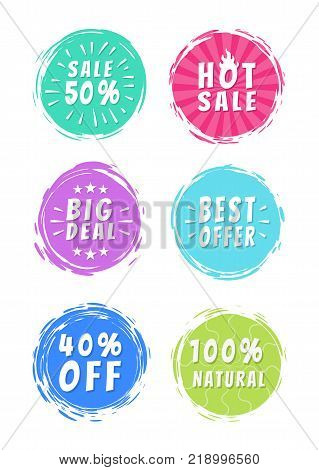 Sale 50 best hot big deal offer 100 natural choice special offer promo stickers round labels brush strokes vector illustration stamps text isolated