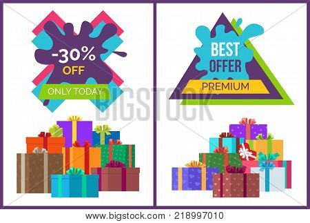 Only today -30 off best premium offer discounts on white. Vector illustration with sale advertisement surrounded by presents in wrapping paper