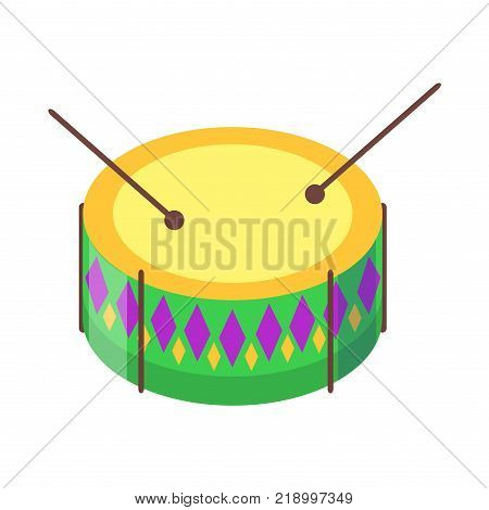 Drum with sticks cartoon icon. Snare or side drum with decorated colored rhombuses sides and ball tip drumsticks flat vector isolated on white background. Percussion musical instrument illustration