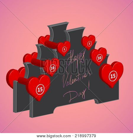 Vector isolated red heart shaped dumbbells on the rack with hand-written valentines greetings