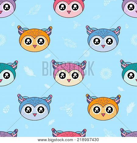 Cute Kids Owl Pattern For Girls And Boys. Colorful Owl On The Abstract Background Create A Fun Carto