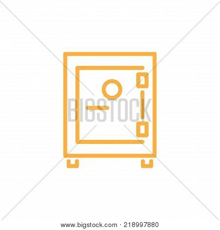 Strongbox infographic schematic element of locked cash box with money of orange color vector illustration isolated on white background