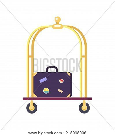 Bellman s cart with golden shiny poles and blue suitcase with stickers on it. Vector illustration of hotel stuff isolated on white background