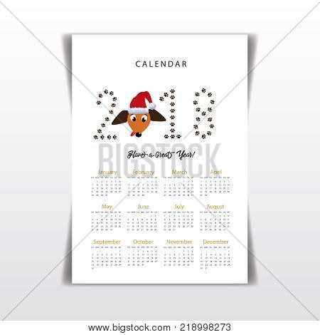 Creative calendar 2018 with cute cartoon dachshund's head in santa hat and numeral 2018 made of paw prints. Concept, vector editable template. Symbol of the year dog in Chinese calendar. and numeral 2018 made of paw prints. Concept, vector editable templa