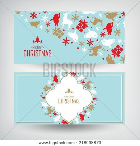 Vector set of two Christmas banners with greeting words and decorative gifts, traditional symbols vector illustration