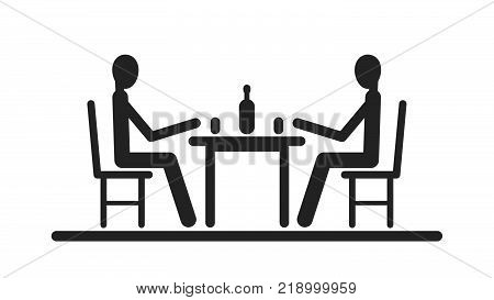 Pictogram two stick figure sitting at the table and to drink out of glasses. Flat vector illustrationeps 10.