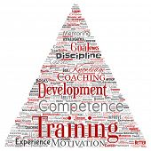 Conceptual training, coaching or learning, study triangle arrow word cloud isolated on background. Collage of mentoring, development, motivation skills, career, potential goals or competence poster