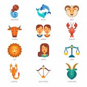 Zodiac signs vector astrology zodiacal symbol or astrological calendar in horoscope aquarius scorpio aries virgo pisces taurus and libra illustration isolated on white background. poster