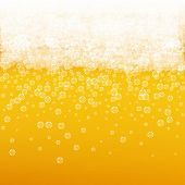 Beer background with realistic bubbles. Cool liquid drink for pub and bar menu design, banners and flyers. Yellow square beer background with white frothy foam. Cold pint of golden lager or ale. poster