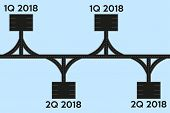 Business concept of timeline roadmap. Task execution plan in road map style. Infographic for investors. Vector Illustration. poster