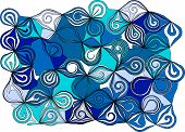 The abstract spirals ornament. Blue color decor. poster