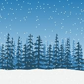 christmas Landscape with silhouette of forest at twilight. Sky, wood, trees, firs, snowfall, sky, distant forest. Shadows. Vector illustration. For prints posters wallpapers web background poster