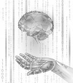 Robot android hand hold human brain. Low poly polygonal particle point line geometric render. Mental education creative idea future mind technology concept white binary code vector illustration art poster