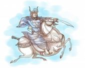illustration of a Samurai warrior with sword riding a horse viewed from side done in cartoon style on isolated background poster