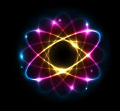 Colorful Atom vector illustration poster