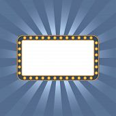 Light signboard on blue sunburst with vintage frame. Illuminated sign. Shining retro signage with space for text. Vector illustration. poster