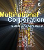 Background concept wordcloud illustration of multinational corporation glowing light poster