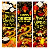 Happy Chinese New Year greeting banners of golden dragon, tangerines and gold coin or ingot. Vector traditional Chinese fireworks in clouds, dumplings and red paper lanterns in clouds decoration poster