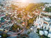 Aerial Footage of Sultanahmet, Blue Mosque in Istanbul poster