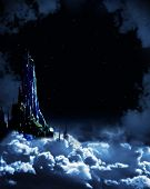 Night fairy-tale. Fantasy landscape with castle poster