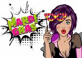 Pop art woman girl wow face kitsch fashion. Hold hand mask. Mardi Gras - Fat Tuesday carnival carnival in a French-speaking country. Comic book cartoon vector illustration pop art speech bubble. poster