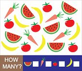 Mathematical game for preschool children. Count how many fruits berries and vegetables (banana watermelon tomato carrot). Learning numbers mathematics. poster
