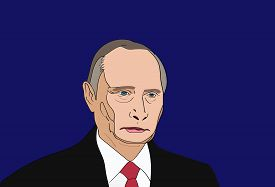 Dec, 2017: The President of Russia Vladimir Putin vector portrait on a blue background