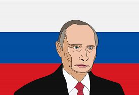 Dec, 2017: The President of Russia Vladimir Putin vector portrait on a russian flag background