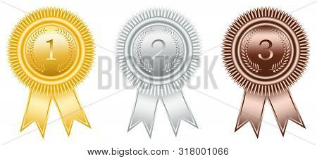 Award Ribbon In Gold, Silver And Bronze With Laurel Wreath As Vector On White Isolated Background. A