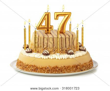 Festive Cake With Golden Candles - Number 47