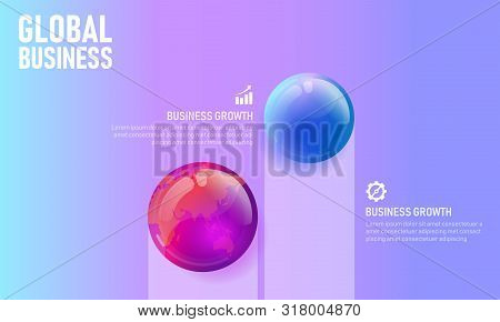 World Map Globe Business Infographic Presentation Vector Illustration Concept. Company Statistics In