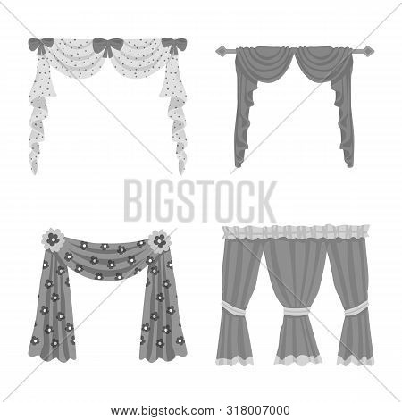 Vector Design Of Interior And Cornice Logo. Set Of Interior And Drapes Stock Symbol For Web.