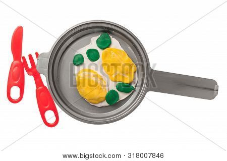 Toy From Plasticine Fried Eggs In A Pan