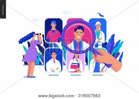 poster of Find a doctor -medical insurance illustration -modern flat vector concept digital illustration - a hand with a magnifying glass, a woman with binocular, doctors portraits - a doctor searching metaphor