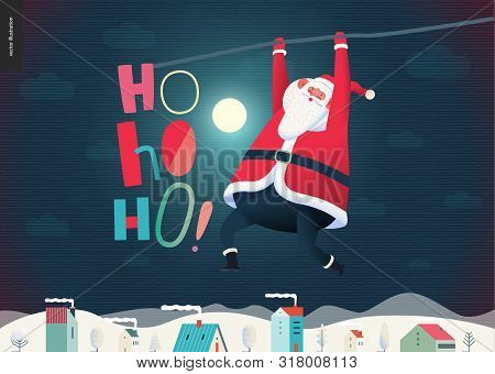 Hanging Santa Claus - Christmas And New Year Greeting Card - Modern Flat Vector Concept Illustration