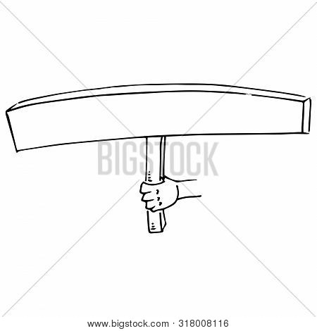 Hand Holds A Blank Banner. A Long Banner Without Text. Banner On A Wooden Hilt. Vector Illustration.