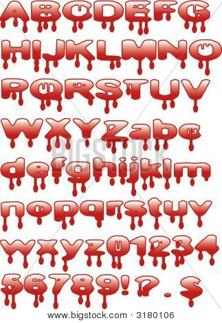 Bloody Alphabet Letters And Numbers