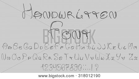 The Font Of The Smooth And Parallel Lines. Numbers And Punctuation Marks. Vector Alphabet.