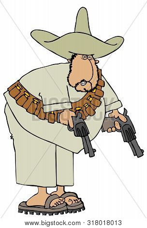 Illustration Of A Mexican Bandido Wearing A Bandoleer And Holding 2 Revolvers.