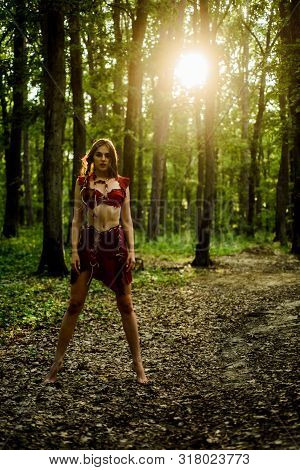 Wilderness Of Virgin Woods. Wild Attractive Woman In Forest. Folklore Character. Living Wild Life Un