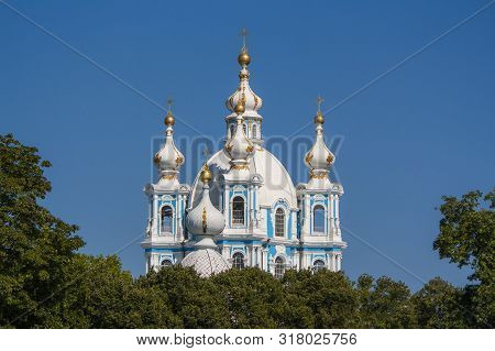 The Orthodox Smolny Cathedral. St. Petersburg. Russia