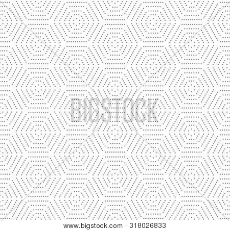 Geometric Repeating Vector Ornament With Hexagonal Dotted Light Elements. Geometric Modern Ornament.