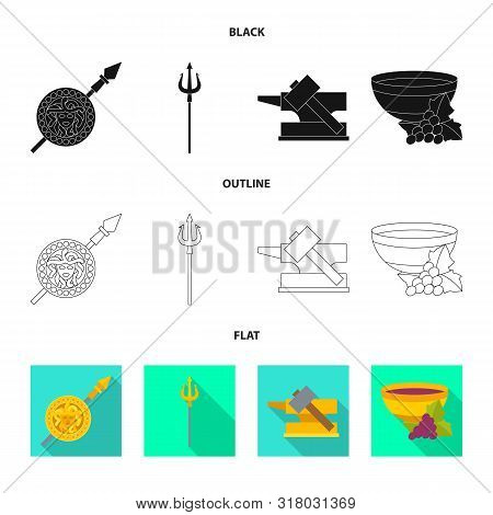 Isolated Object Of Deity And Antique Symbol. Collection Of Deity And Myths Stock Symbol For Web.