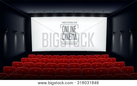 Empty Movie Theatre. Cinema Hall With White Screen And Red Chairs. Modern Movies Theater For Festiva