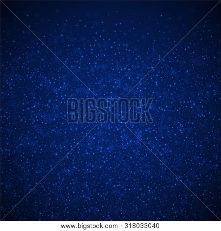 Beautiful Glowing Snow Christmas Background. Subtle Flying Snow Flakes And Stars On Dark Blue Night