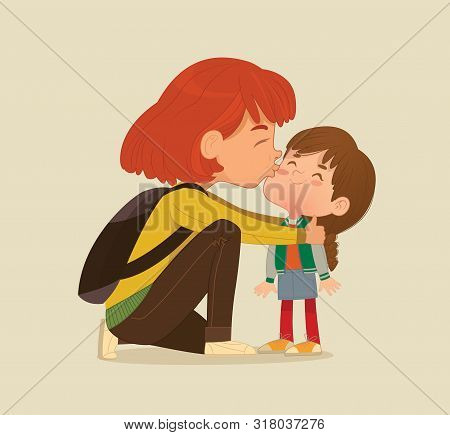 Illustration Of A Mother Gives A Goodbye Kiss To Her Daughter. Mum Gives Kiss To The Child At The Sc