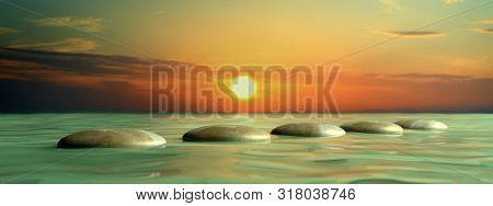 Zen stones row from large to small  in water with blue sky and peaceful landscape background. 3d illustration
