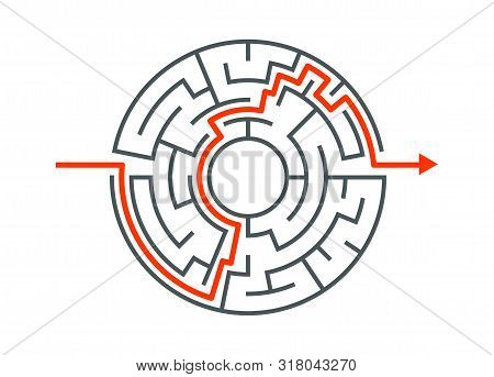 Circle Maze Vector Labyrinth Game. Round Puzzle Circular Maze With Solution. Complex Labyrunth Patte