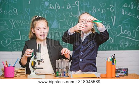 Science Concept. Gymnasium Students With In Depth Study Of Natural Sciences. Private School. School