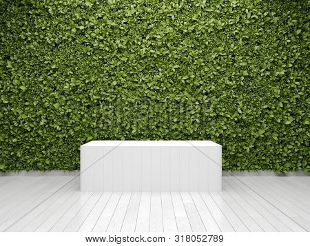 Stand for product with green wall of vertical gardens, 3D illustration, rendering.